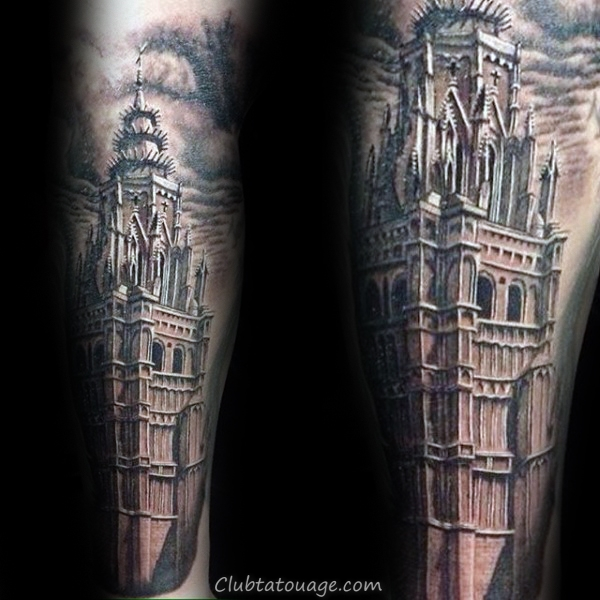 Bâtiment Vintage Church With Skull design Mens Forearm Tattoo