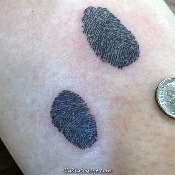 Tattoo Arbre d'empreintes digitales Homme Outer Forearm