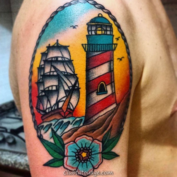 Upper Arm Homme Phare traditionnel et le navire Tatouages