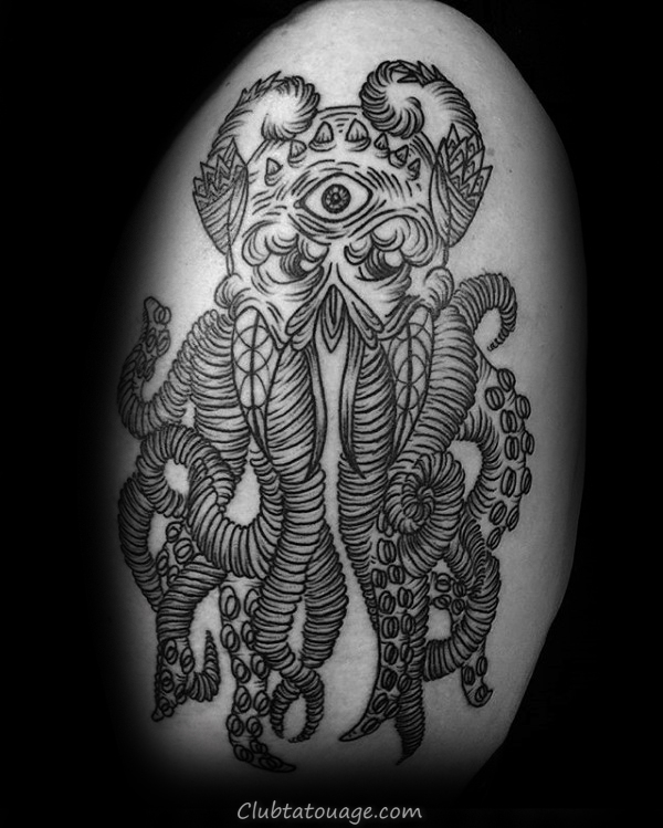 All Seeing Eye Cthulhu avec Hanging bras Tatouages ​​Suckers Hommes
