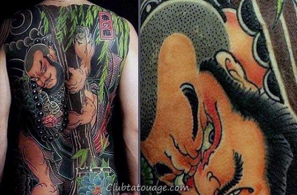 Amaing Chinese Full Back Male Tattoo Avec Colorful design
