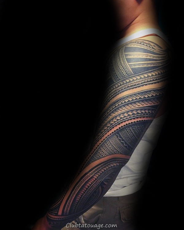 Amazing 3d Mens pleine manches samoans tribal Tattoos