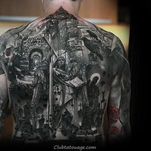 Angel Avec Croix Creative Mens Full Back Tattoo