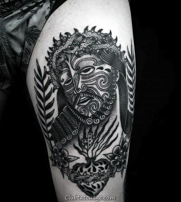 Jésus Visage Artistique Avec sacré-Cœur Hommes cuisse Tatouages