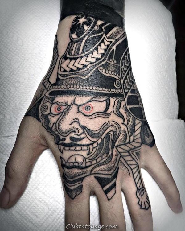 Hommes Guerrier chinois Tattoo masque à la main Impressionnant Designs