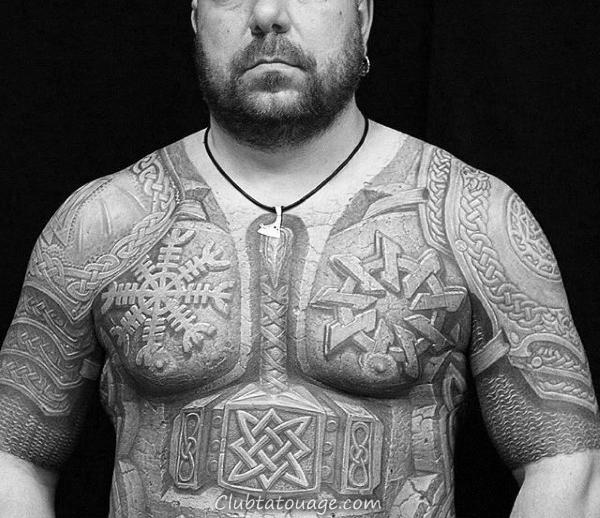 Plate armure de combat Hommes celtiques demi Tatouages manches