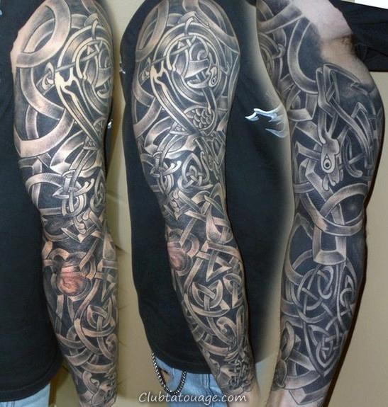 noir et gris Homme celtiques manches tattoo Design Ideas