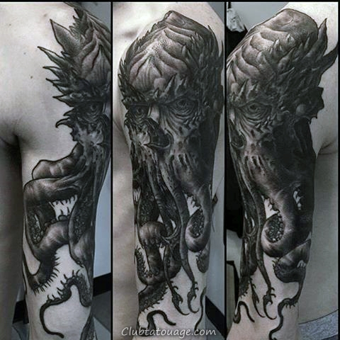Ink Black Outline Cthulhu Avec Ocean Waves Hommes demi manches tattoo Ideas