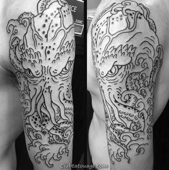 Cthulhu bleu avec les yeux rougeoyants mens Arm Tattoos
