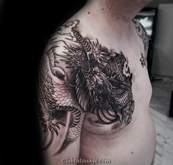 poitrine et au bras dragon chinois Homme Tatouages 