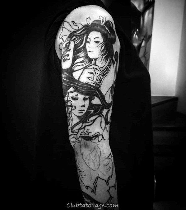 Portrait Femme Sleeev Tattoo Male