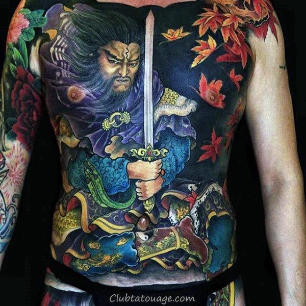 Guerrier chinois Avec Epée Hommes pleine poitrine Tattoo Designs