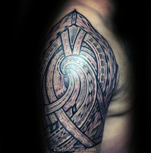 Complex design Demi manches tribal Refroidir Mens samoan Tattoo Designs black Ink