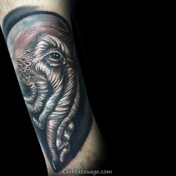 cool Cthulhu Avec Bleu Aquarelle Fond Hommes Arm Tattoos