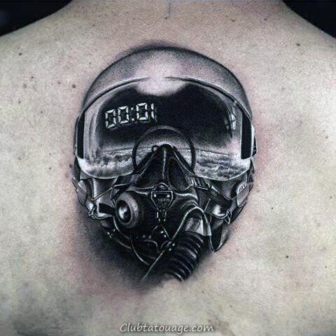 cool fighter Pilot casque Creative Hommes tatouages sur le dos