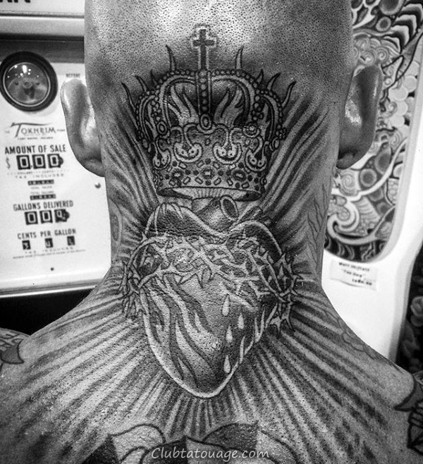 Coeur Refroidir Mens sacré arrière du cou Tatouages