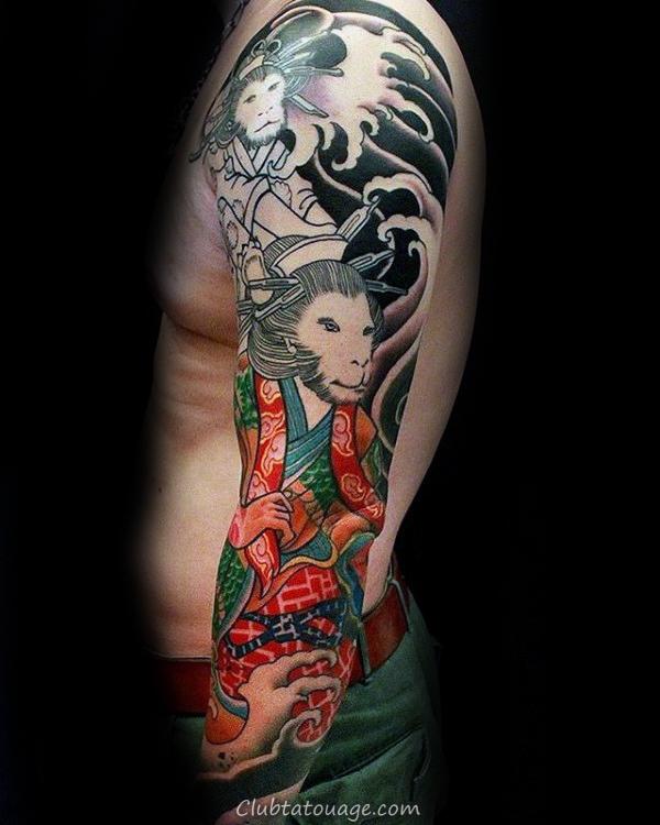cool Roi Singe chinois Guys plein manches tattoo Idées