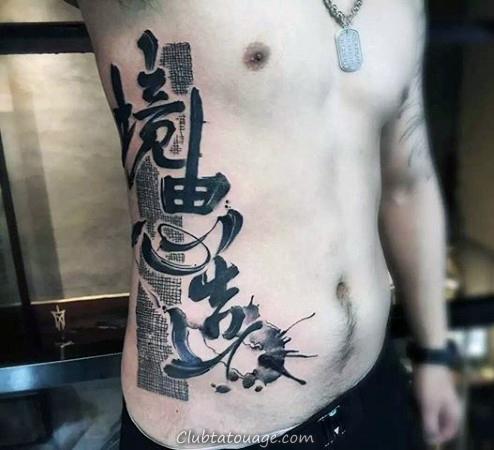 Les mots chinois Creative Mens Rib Tattoo
