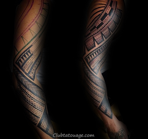 Negative Space Decorative Spirales tribal Mens samoan Half Sleeve Idées de tatouage