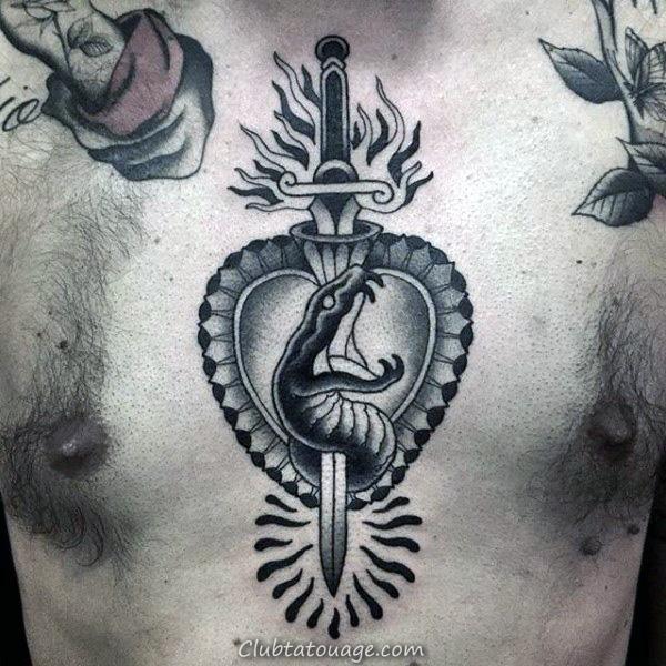 Day Of Les thèmes Guys sacré-coeur morts poitrine Tatouages