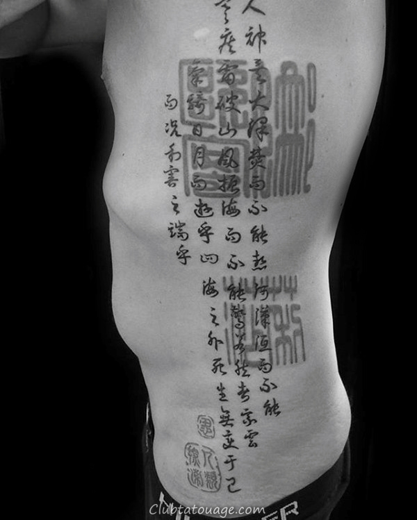 complet Cage thoracique secondaires Hommes chinois Citer Tattoo
