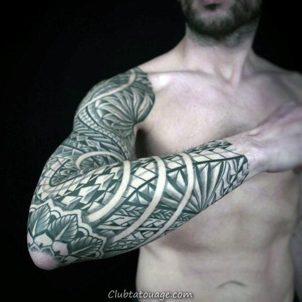 Outline Guys encre noire Motif samoan bras plein et l'épaule tatouages tribaux