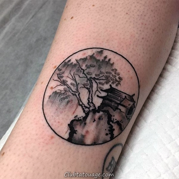 Guys Small Circle simple Nature Chinese Tattoo Sur Forearm