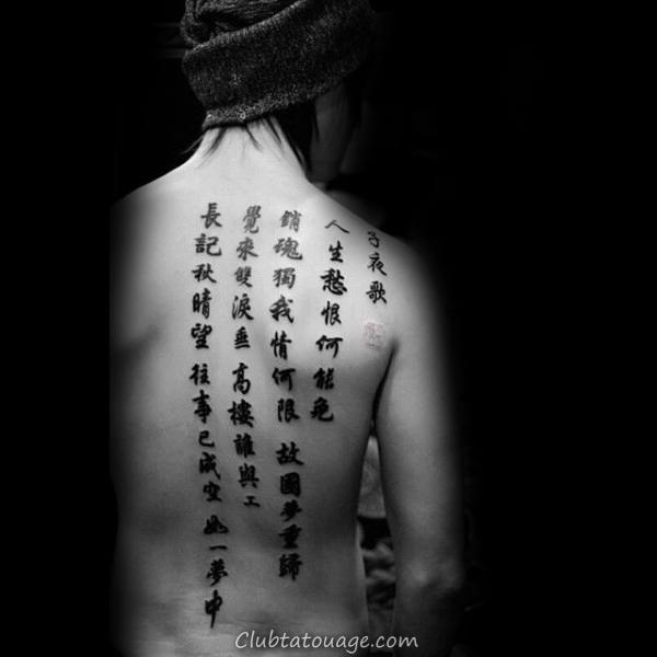 Half Retour chinois Quote texte Hommes Tattoos