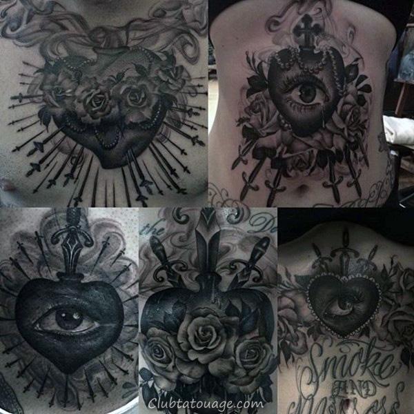 Jésus Avec Sacré-Coeur Homme clouds Chest Tattoo
