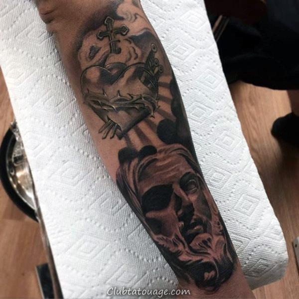 Grand Sacré-Coeur Avec Rose Fleurs Guys pleine poitrine et l'estomac Tattoo