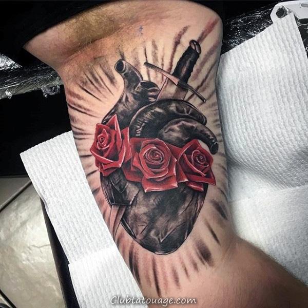 Homme Avec catholique romaine Sacré-Coeur de Jésus Forearm manches Tattoo design
