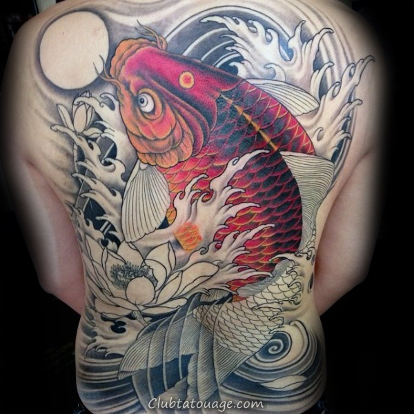 width Koi Fish chinois Guys Full Back Tattoos