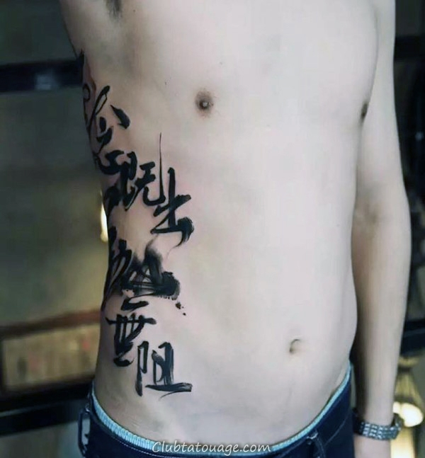 Man With Chinese Font Quote Rib Cage Tattoo design