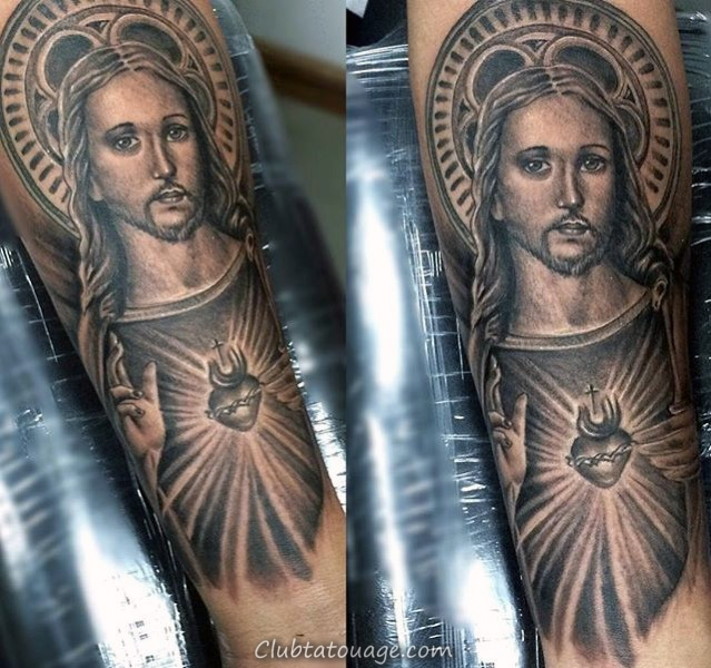 Mens 3d Tattoo Of Sacred Heart Avec Eye On Biceps