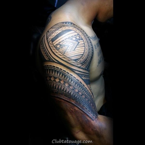 masculine Mens manches demi et l'épaule samoans Tatouages