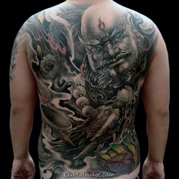 Mens Chinese dragon Black Ink Outline pleine Sleeve design Tattoo Inspiration