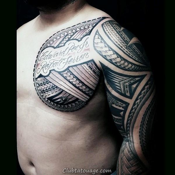width Mens samoan Half Sleeve tribal Tattoo