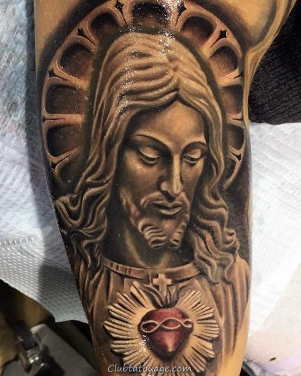 Hommes Doves volant avec Sacred Heart religieux themed demi Tatouages manches