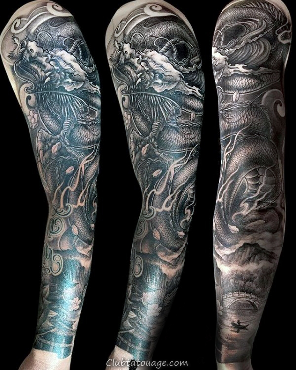 Mens chinoise manches demi dragon Tattoo Designs