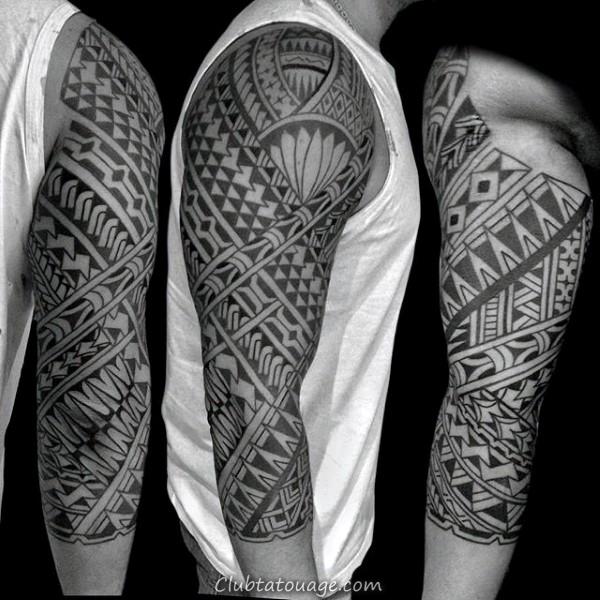 Belle samoan Tattoo Sleeve Half Inspiration pour les hommes avec la conception tribale