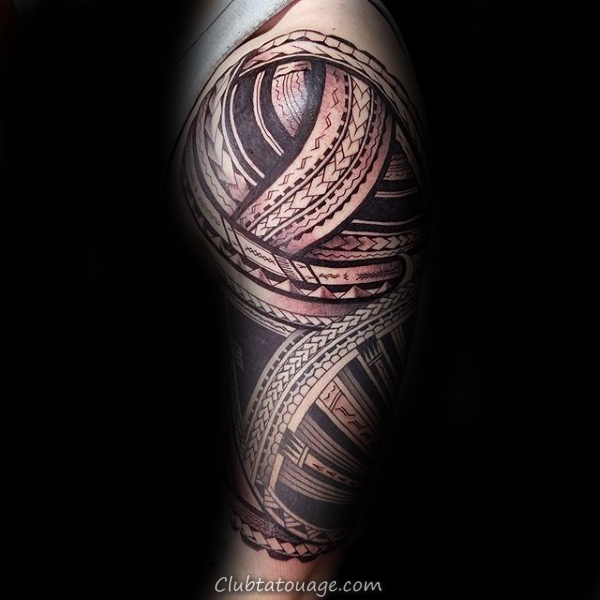 Red And Black Ink samoans Outer Forearm Hommes tatouages tribaux
