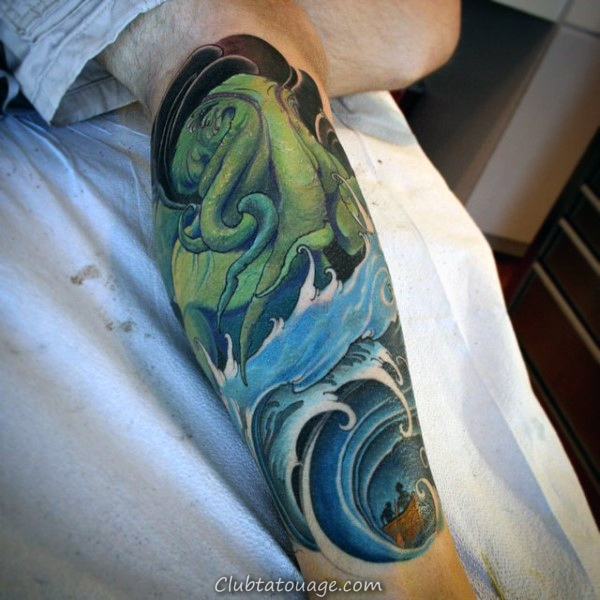 Shaded noir et gris encre Cthulhu manches pleine Homme Tattoo