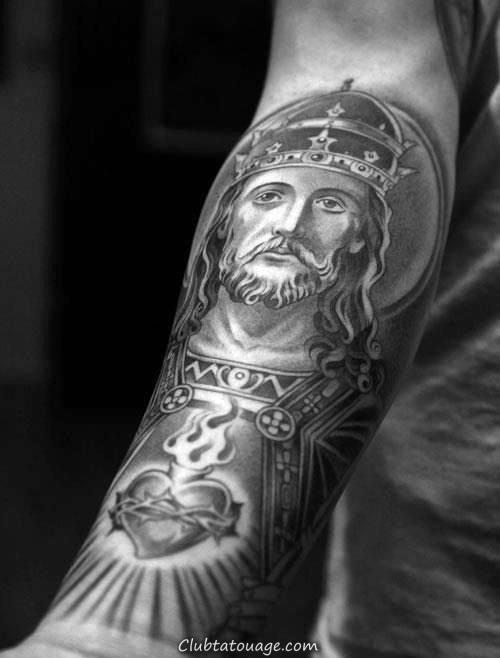 religieux Themed Sacré-Coeur avec la mère Mary Et Jésus Guys poitrine pleine Tattoos