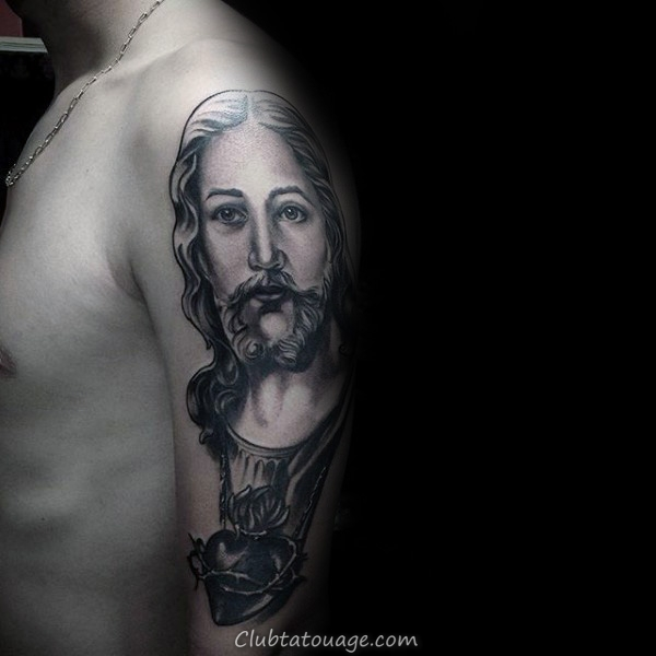 Roman Catholic Themed Guys Mère Marie Prier Avec Tattoo Sleeve Sacré-Coeur