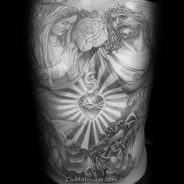 100 Tatouage du Sacré Coeur Designs For Men - Idées d'encre religieuses