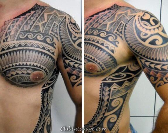 Shaded noir et gris d'encre Gentlemens samoan tatouages tribaux
