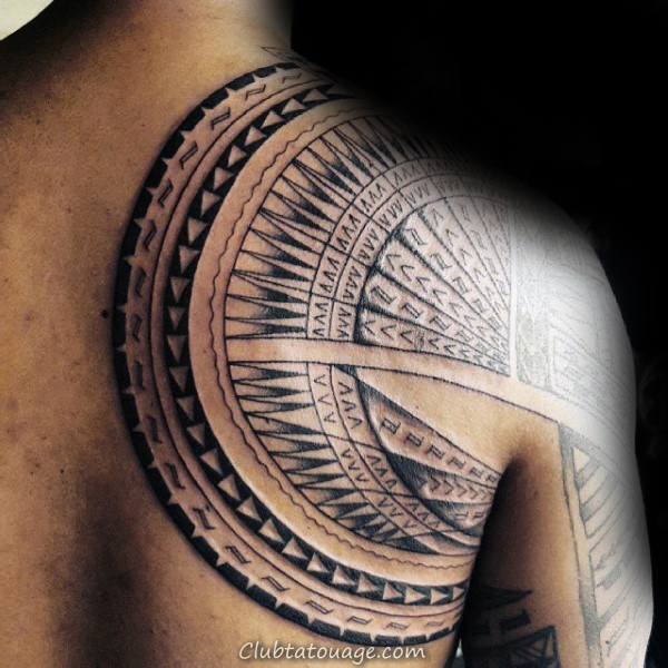 Sun Themed samoans tribal Hommes demi Tatouages manches
