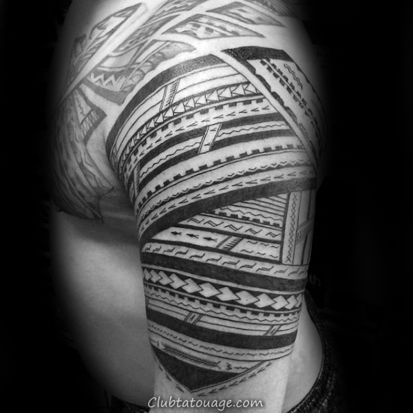 white And Black Ink Mens samoan Arm Tattoo Sleeve tribal