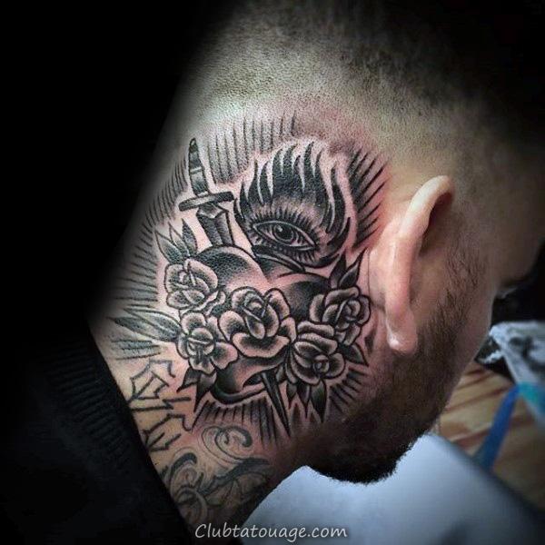 blanc et noir d'encre du sacré-Coeur Guys Forearm Tattoos