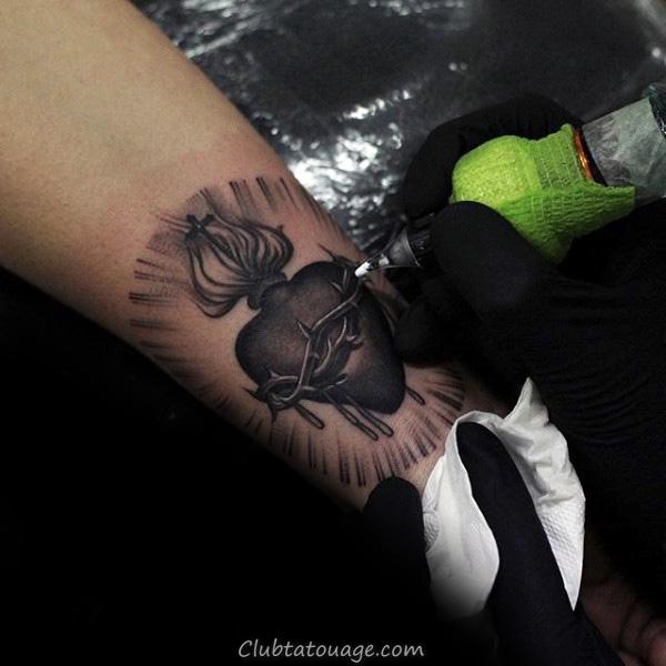 Woodcut Skull Hommes Sacré-coeur main Tatouages